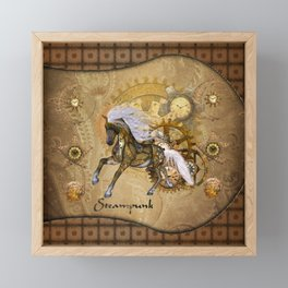 Wonderful steampunk horse with white mane Framed Mini Art Print