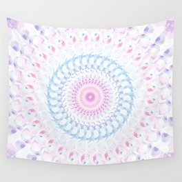 Pastel Wave Mandala in Pale Pink, White, and Lilac Wall Tapestry