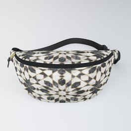 Black and white marble Moroccan mosaic Fanny Pack