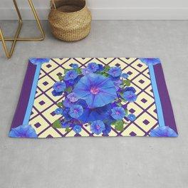 Cream Color Purple Pattern Blue Floral Rug