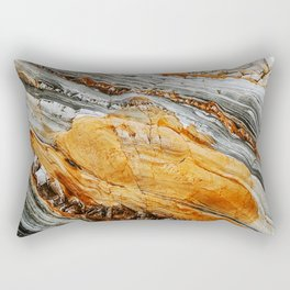 Gray Copper Marbled Petrified Wood Rectangular Pillow