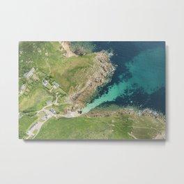 Top down aerial views over Porthgwarra Beach, Cornwall. Metal Print