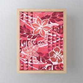 Red Hibiscus Polynesian Tapa Framed Mini Art Print