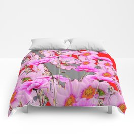 MODERN FUCHSIA  PINK FLOWERS  GREY & RED ABSTRACT ART Comforters