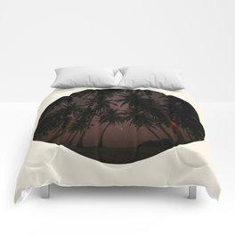 Caribbean Palm Trees Silhouette & Night Sky Comforters