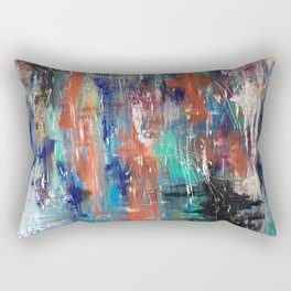 Abstract Art Multicolor Lake with Trees Rectangular Pillow