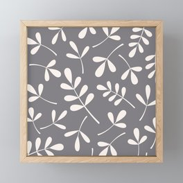 Assorted Leaf Silhouettes Cream on Grey Framed Mini Art Print
