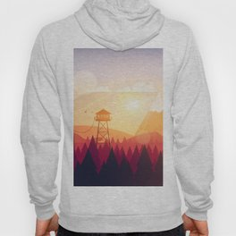 Vector Art Landscape with Fire Lookout Tower Hoody
