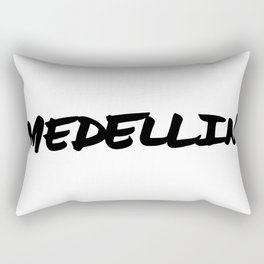 'Medellin' Colombia Hand Letter Type Word Black & White Rectangular Pillow