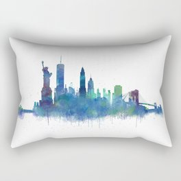 NY New York City Skyline NYC Watercolor art Rectangular Pillow