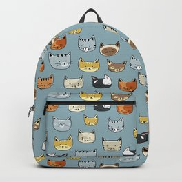 Cat Face Doodle Pattern Backpack