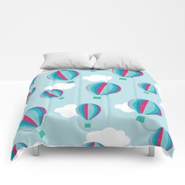Hot air balloons and clouds - blue and pink Comforters