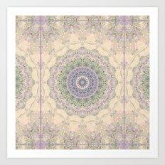 32 Wisteria Pine Loop -- Vintage Cream and Lavender Purple Mandala  Art Print