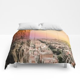 Colorful Rainbow View from Sagrada Familia over the Old City of Barcelona Comforters