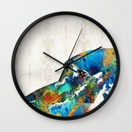 Colorful Dog Art - Loving Eyes - By Sharon Cummings Wall Clock