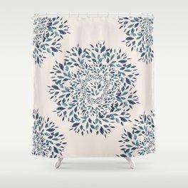 Indigo Leaves Mandala Shower Curtain