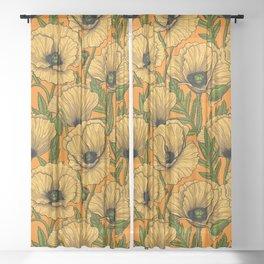 Yellow poppies Sheer Curtain