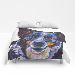 Australian Cattle Dog Portrait blue heeler colorful Pop Art Painting by LEA Comforters