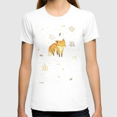 Lonely Winter Fox Womens Fitted Tee White SMALL