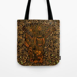 Aztec Elephant With Floral Pattern Tote Bag