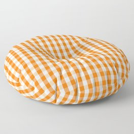 Classic Pumpkin Orange and White Gingham Check Pattern Floor Pillow