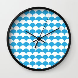 Blue Fan Shell Pattern Wall Clock