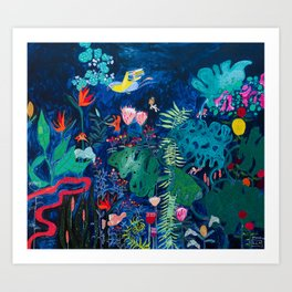Brightly Rainbow Tropical Jungle Mural with Birds and Tiny Big Cats Art Print