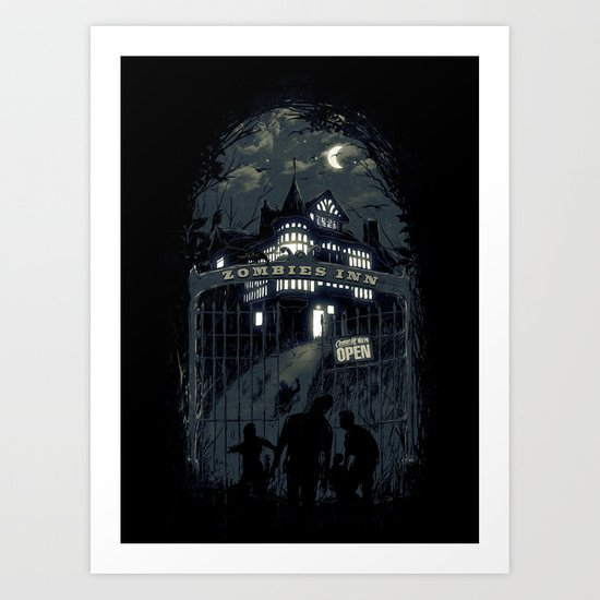 Zombies Inn Art Print