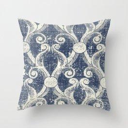 Vintage Blue Trellis Throw Pillow
