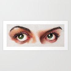 Eyes girl are looking something Art Print