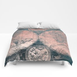 Vintage World Map Rose Gold and Storm Gray Navy Comforters