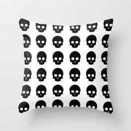 White Out Skullz Throw Pillow