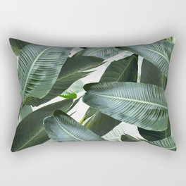 Tropical Palm leaf, banana leaf, greens, Hawaii, retro style Rectangular Pillow