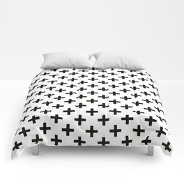 Criss Cross   Plus Sign   Black and White Comforters