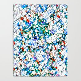 Glass stain mosaic 3 floral - by Brian Vegas Poster