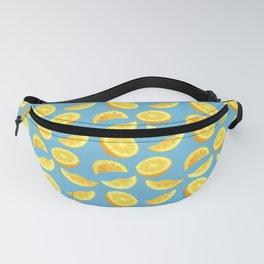 Lemon Slices and Wedges on blue Fanny Pack
