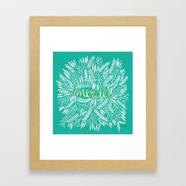 Pardon My French – Gold on Turquoise Framed Art Print