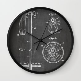 Skiing Patent - Skier Art - Black Chalkboard Wall Clock