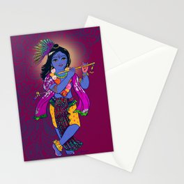 Little Krsna with Flute Colored Stationery Cards