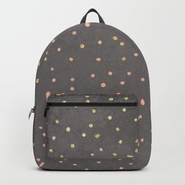 Gold glitter blush pink ombre confetti polka dots grey cement concrete Backpack