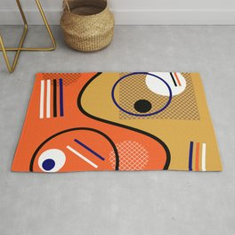Opposing Sides - Abstract, orange and mustard, geometric, contrasting design Rug