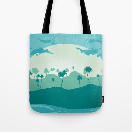 Lonely palms on tropic beach Tote Bag