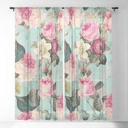 Vintage & Shabby Chic - Summer Teal Roses Flower Garden Sheer Curtain