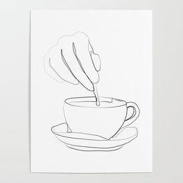 """"""" Kitchen Collection """" - Hand mixing coffee with a spoon Poster"""
