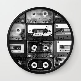 Something Nostalgic - black and white #decor #buyart #society6 Wall Clock