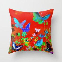 Red Butterflies & Flowers Throw Pillow