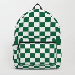 White and Cadmium Green Checkerboard Backpack