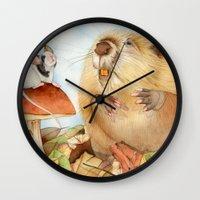 beaver Wall Clocks featuring Mouse & Beaver by Patrizia Donaera ILLUSTRATIONS