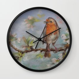 Red Robin Small bird on a blooming twig Wildlife spring scene Pastel drawing Wall Clock