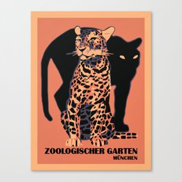 Retro vintage Munich Zoo big cats Canvas Print